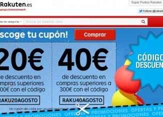 Códigos descuento Rakuten de 20 y 40 euros