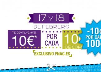 10€ de devolucion por cada 100€ de compra en Fnac.es