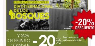 Código promocional de Yves Rocher con -20% descuento para celebrar el día internacional de los Bosques