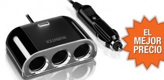 Oferta toma de coche con 3 conectores y USB al mejor precio