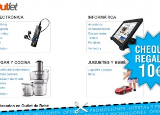 Cheque regalo de 10€ por 50€ de compra en Outlet de Amazon