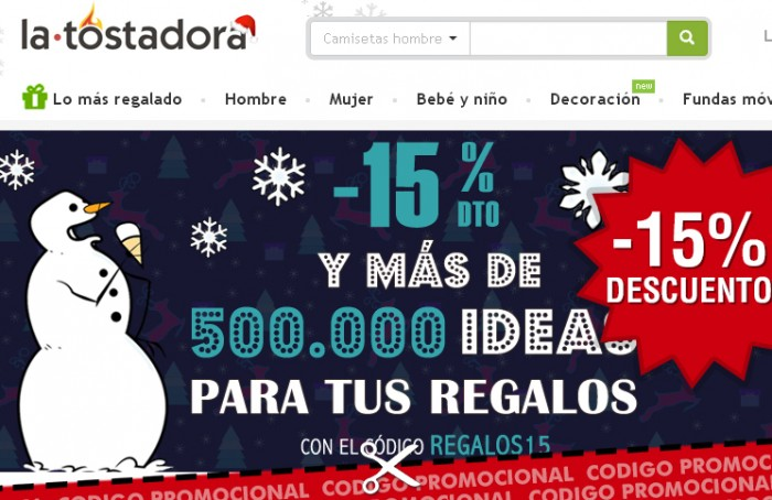 Código promocional de La Tostadora con 15% descuento para Navidad