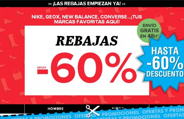 Rebajas en zapatería de Sarenza con hasta -60%
