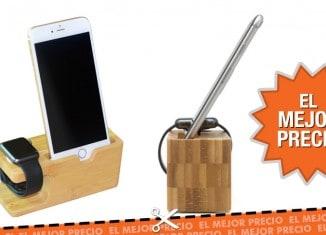 Oferta soporte de bambú para smartphones y relojes